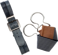 Set of Two; Oscar de la Renta Blue Spotted Snakeskin Belt & Peter Som Navy and White Striped Elastic Belt