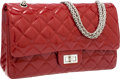Luxury Accessories:Bags, Chanel Cranberry Red Quilted Patent Leather Maxi Reissue DoubleFlap Bag with Silver Jewel Chain Strap. ...