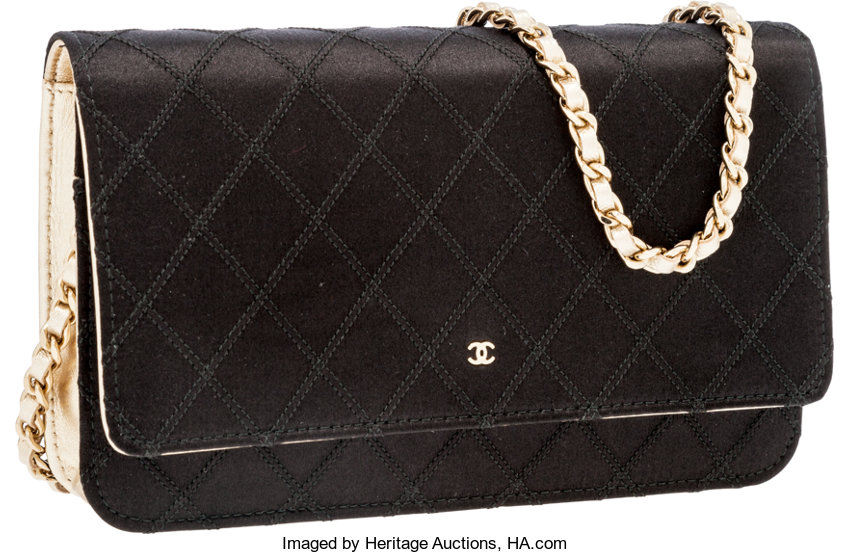 1b99d8b592 ... Luxury Accessories:Bags, Chanel Black Satin & Gold Lambskin Leather  Wallet on Chain ...