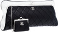 Luxury Accessories:Bags, Chanel Black & White Quilted Lambskin Leather Oversize ClutchBag. ...