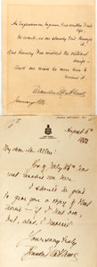 Autographs:Authors, Brander Matthews (1852-1929, American author) Typed Letters Signed.Includes two. January 1886 and August 6, 1922. Later let...