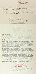 Autographs:Authors, Ruth McKenney (1911-1972, American author of My SisterEileen) Typed Letter Signed and Autograph Letter Signed. ...