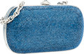 Luxury Accessories:Bags, Judith Leiber Full Bead Blue Crystal Minaudiere Evening Bag. ...