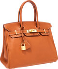 Luxury Accessories:Bags, Hermes 30cm Gold Swift Leather Birkin Bag with Gold Hardware. ...