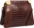 Luxury Accessories:Bags, Judith Leiber Shiny Brown Crocodile Clutch Bag with Crystal &Gold Accents . ...