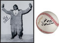 Autographs:Baseballs, Fats Domino Signed Baseball And Photograph....