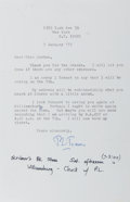 Autographs:Celebrities, R. Travis Osborne (1913-2013, American professor) Typed Letter Signed. January 7, [19]75. One octavo page, with one blank in...