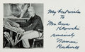 Autographs:Authors, Normal Rockwell (1894-1978, American artist) Postcard TwiceInscribed. Measures 5.5 x 3.5 inches. Inscribed on both the rect...