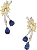 Estate Jewelry:Earrings, Sapphire, Colored Diamond, Diamond, Platinum, Gold Earrings. ...