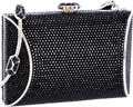Luxury Accessories:Bags, Judith Leiber Full Bead Black Crystal Mini Minaudiere Evening Bag ....