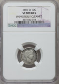 Barber Dimes, 1897-O 10C -- Improperly Cleaned -- NGC Details. VF. NGC Census: (2/78). PCGS Population (8/149). Mintage: 666,000. Numisme...