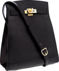 Luxury Accessories:Bags, Hermes 20cm Black Calf Box Leather Kelly Sport Bag with GoldHardware. ...