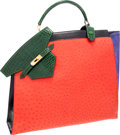 Luxury Accessories:Bags, Hermes Extremely Rare Shiny Vert Emerald Alligator, Rouge VifOstrich, Violet Veau Doblis Suede & Black Calf Box Leather SacH...