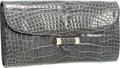 Luxury Accessories:Bags, Yves Saint Laurent Shiny Gray Crocodile Sac Muse Clutch Bag. ...