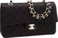 Luxury Accessories:Bags, Chanel Special Edition Black Quilted Satin Medium Double Flap Bagwith Brushed Gold Hardware. ...