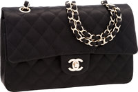 Chanel Special Edition Black Quilted Satin Medium Double Flap Bag with Brushed Gold Hardware