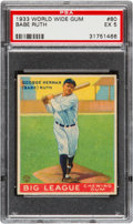 Baseball Cards:Singles (1930-1939), 1933 World Wide Gum Babe Ruth #80 PSA EX 5....