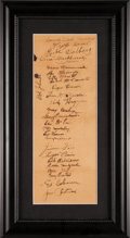 Baseball Collectibles:Others, 1932-33 Philadelphia A's Team Signed Sheet With Jimmie Foxx &Connie Mack. ...