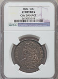 Bust Half Dollars, 1832 50C Small Letters -- Obverse Damage -- NGC Details. XF. NGCCensus: (130/1757). PCGS Population (240/1743). Mintage: 4...