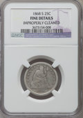 Seated Quarters, 1868-S 25C -- Improperly Cleaned -- NGC Details. Fine. NGC Census:(1/37). PCGS Population (9/48). Mintage: 96,000. Numisme...
