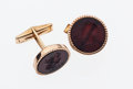 Estate Jewelry:Cufflinks, Hardstone Intaglio, Gold Cuff Links. ...