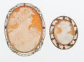 Estate Jewelry:Brooches - Pins, Shell Cameo, Gold Brooches. ... (Total: 2 Items)