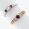 Estate Jewelry:Rings, Ruby, Diamond, Gold, Sterling Silver Rings. ... (Total: 2 Items)