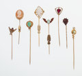 Estate Jewelry:Brooches - Pins, Multi-Stone, Gold, Silver Stick Pins. ...