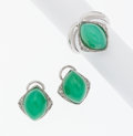 Estate Jewelry:Suites, Chrysoprase, Diamond, White Gold Jewelry Suite. ... (Total: 2Items)