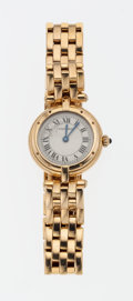 Timepieces:Wristwatch, Cartier 18k Gold Quartz Wristwatch. ...