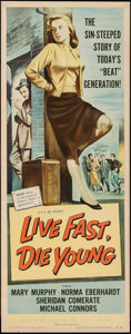 "Movie Posters:Bad Girl, Live Fast, Die Young (Universal International, 1958). Insert (14"" X36""). Bad Girl.. ..."