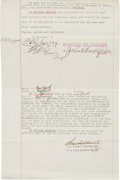 Autographs:Inventors, John D. Rockefeller Typed Contract Signed.... (Total: 7 Items)