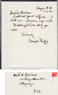 Autographs:Artists, Georgia O'Keeffe Autograph Letter Signed with Original TransmittalEnvelope....