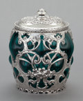 Silver Holloware, American, A WHITING SILVER OVERLAID GLASS LIDDED HUMIDOR JAR. WhitingManufacturing Company, New York, New York, circa 1900. Marks: (e...