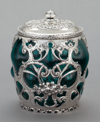 A WHITING SILVER OVERLAID GLASS LIDDED HUMIDOR JAR Whiting Manufacturing Company, New York, New York, circa 1900