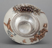 A GORHAM SILVER AND MIXED METAL FOOTED BOWL Gorham Manufacturing Co., Providence, Rhode Island, 1882 Marks: (li