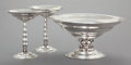 Silver Holloware, American:Center Pieces, A THREE PIECE REED & BARTON SILVER MODERNIST CENTERPIECE SET. Reed & Barton, Taunton, Massachusetts, 1929; 1931. Marks: (eag... (Total: 3 Items)