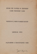 Books:Literature 1900-up, Gertrude Stein. Before the Flowers of Friendship Faded Friendship Faded. Written on a Poem by Georges Hugnet. ...