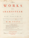 Books:Literature Pre-1900, William Shakespeare. The Works of Shakespeare in SixVolumes. Collated and Corrected by the Former Editions, byMr... (Total: 7 Items)