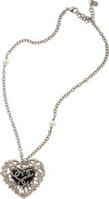 "Luxury Accessories:Accessories, Chanel Silver Lattice Gripoix Heart CC Short Necklace. PristineCondition. 16"" Length x 5"" Width. ..."