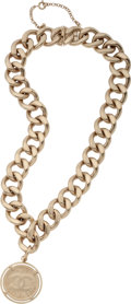 Luxury Accessories:Accessories, Chanel Brushed Gold Jumbo Chain Link with CC Necklace. ...