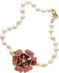 Luxury Accessories:Accessories, Chanel Spring 2005 Glass Pearl & Gripoix Camelia Necklace. ...
