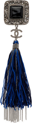 "Chanel Silver & Black Cabochon Brooch with Navy Blue and Black Tassel Pristine Condition 1.5"" Wid"