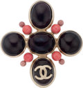 "Luxury Accessories:Accessories, Chanel Burgundy Gripoix with CC Brooch. Pristine Condition.3"" Width x 3"" Height. ..."