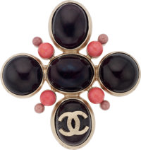 "Chanel Burgundy Gripoix with CC Brooch Pristine Condition 3"" Width x 3"" Height"