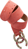 Luxury Accessories:Accessories, Chanel Spring 2009 Pink Suede Belt with Floral CC Closure. ...