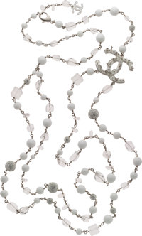 Chanel White & Clear Bead Extra Long Ice Cube Necklace