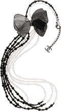 Luxury Accessories:Accessories, Chanel Fall 2008 Black & Clear Bead Necklace Lattice Bow. ...