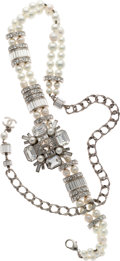 Luxury Accessories:Accessories, Chanel Fall 2006 Clear Rhinestone & Glass Pearl Belt. ...