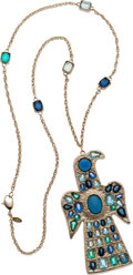 Luxury Accessories:Accessories, Chanel Fall 2007 Champagne Bird Necklace with Blue Gripoix. ...